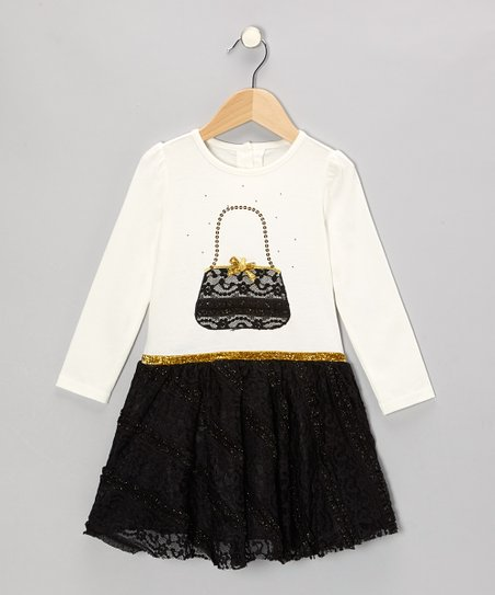 White & Black Purse Dress - Girls