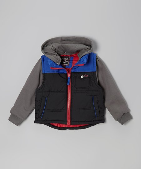 Black & Royal Blue Layered Hooded Jacket - Infant, Toddler & Boys