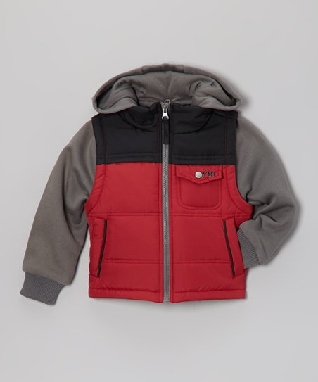 Red & Black Layered Hooded Jacket - Infant, Toddler & Boys