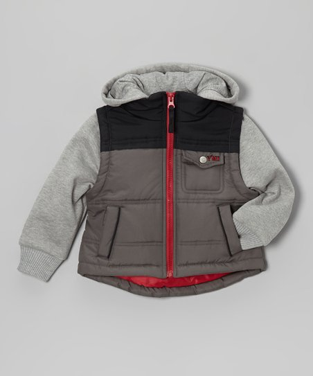Charcoal & Black Layered Hooded Jacket - Infant, Toddler & Boys
