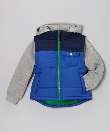 Royal Blue & Navy Layered Hooded Jacket - Infant, Toddler & Boys