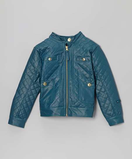 Teal Blue Quilted Faux Leather Zip-Up Jacket - Toddler & Girls