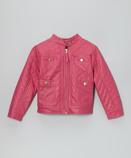 Fuchsia Quilted Faux Leather Zip-Up Jacket - Toddler & Girls