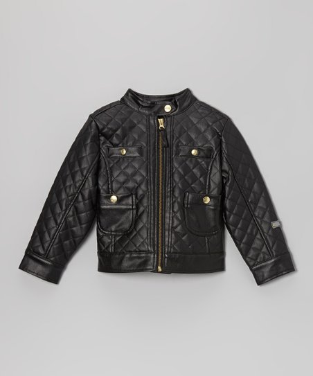 Black Quilted Faux Leather Zip-Up Jacket - Toddler & Girls
