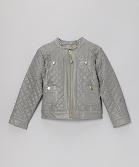 Gray Quilted Faux Leather Zip-Up Jacket - Toddler & Girls