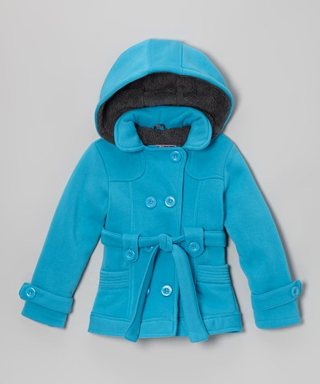Turquoise Fleece Double-Breasted Coat - Toddler & Girls