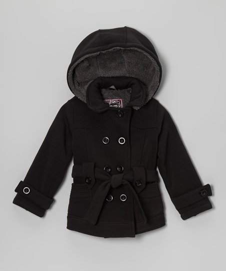 Black Fleece Double-Breasted Belted Coat - Toddler & Girls