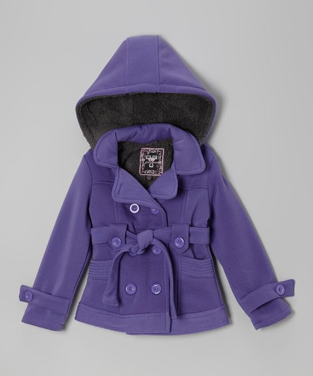 Purple Fleece Double-Breasted Coat - Toddler & Girls
