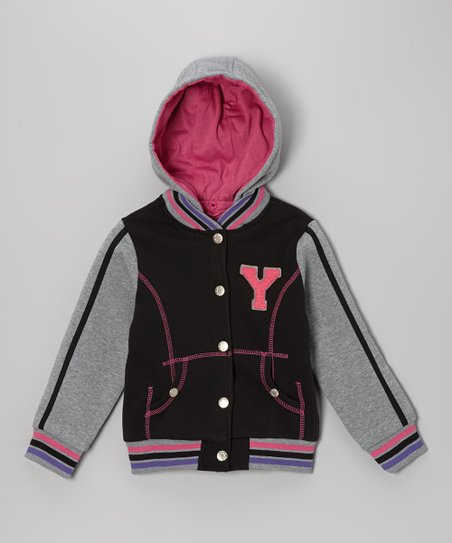 Black 'Y' Varsity Hooded Jacket - Infant, Toddler & Girls