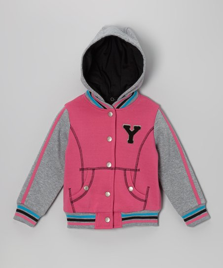 Fuchsia 'Y' Varsity Hooded Jacket - Infant, Toddler & Girls