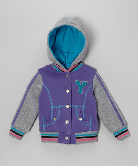 Purple 'Y' Varsity Hooded Jacket - Infant, Toddler & Girls