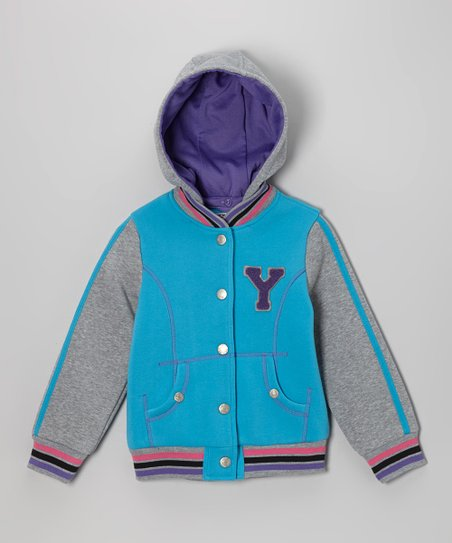 Turquoise 'Y' Varsity Hooded Jacket - Infant, Toddler & Girls