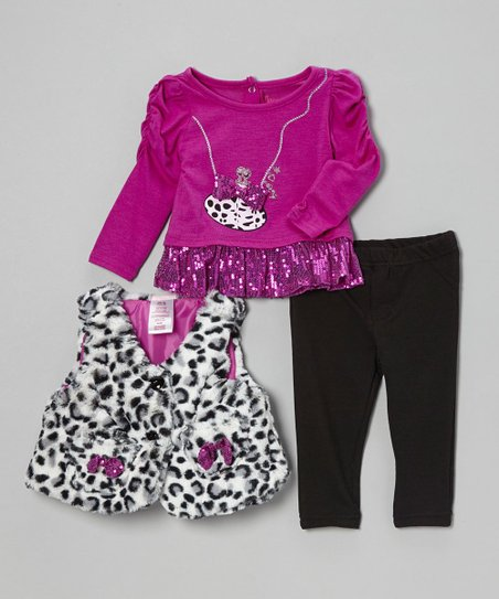 Purple Shimmer Purse Puff-Sleeve Top Set - Infant