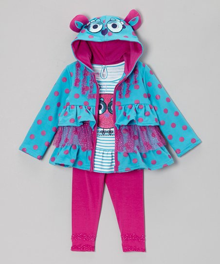 Turquoise Ruffle Tiered Zip-Up Hoodie Set - Infant