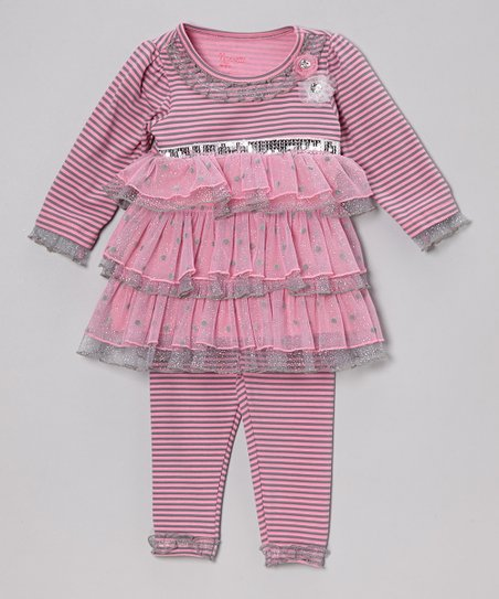 Pink Stripe Ruffle-Tiered Tunic & Leggings - Infant