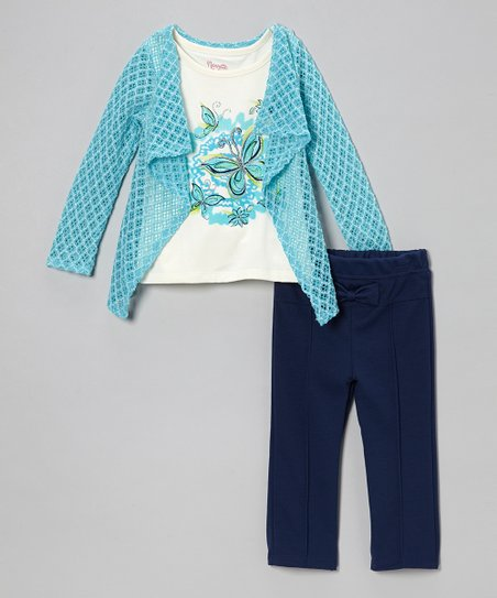 Blue & White Layered Tee & Pants - Toddler & Girls