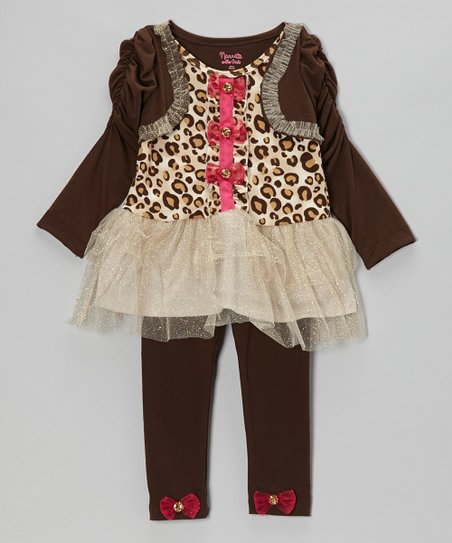 Brown Leopard Layered Tunic & Leggings - Girls