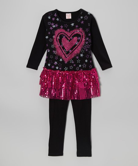 Pink Sparkle Tiered Tunic & Black Leggings - Toddler