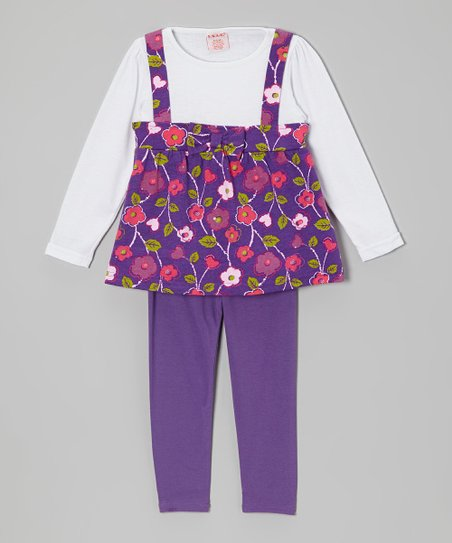 Purple & White Layered Tunic & Leggings - Girls