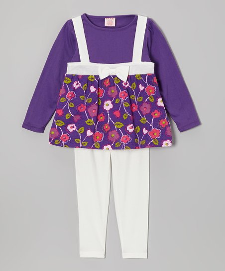 White & Purple Layered Tunic & Leggings - Girls