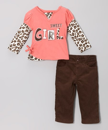 Peach 'Sweet Girl' Top & Black Pants - Infant, Toddler & Girls