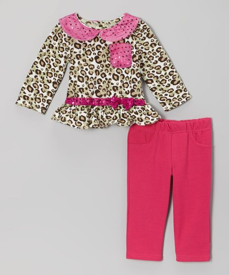 Beige Leopard Collared Top & Pink Pants - Infant