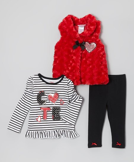 Red Sparkle-Heart Vest Set - Infant, Toddler & Girls