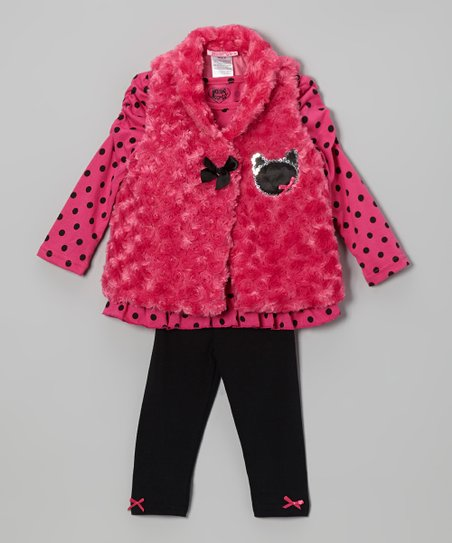 Pink Sparkle Kitty Vest Set - Infant, Toddler & Girls