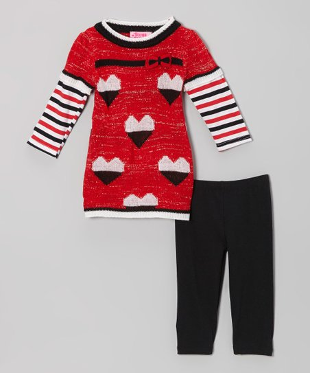 Red Hearts Layered Tunic & Leggings - Infant & Toddler