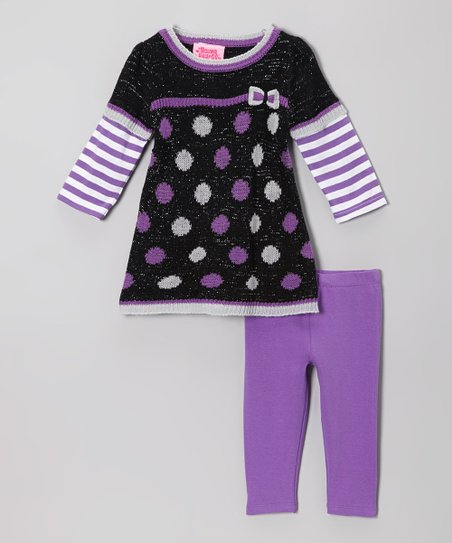 Black Dot Layered Tunic & Purple Leggings - Infant & Toddler