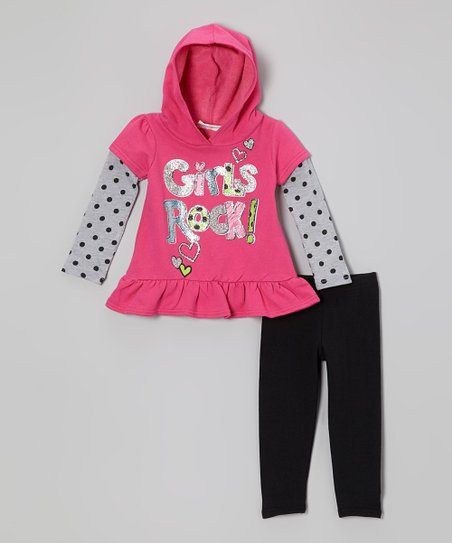 Pink 'Girls Rock' Layered Tunic & Leggings - Infant & Toddler