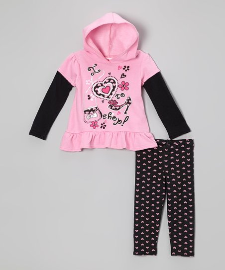 Pink 'I Love to Shop' Layered Tunic & Heart Leggings - Infant