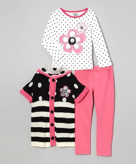 Bright Pink Stripe Sweater Set - Infant, Toddler & Girls