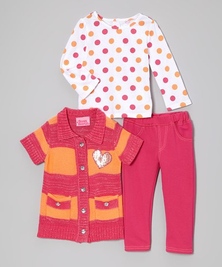 Pink Stripe Short-Sleeve Sweater Set - Infant, Toddler & Girls