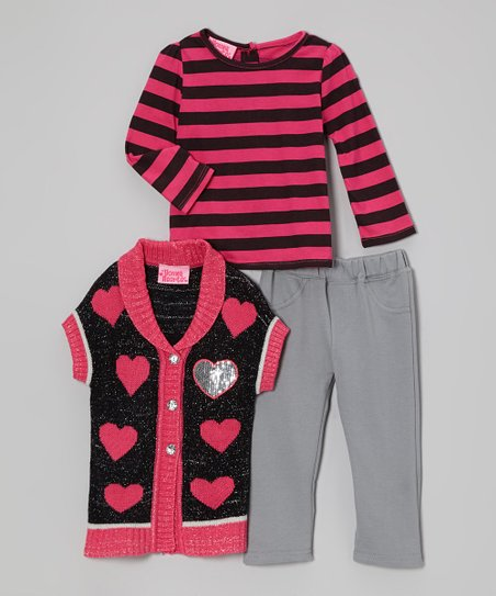 Pink Heart Short-Sleeve Sweater Set - Infant, Toddler & Girls