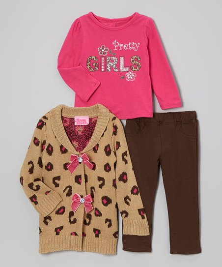 Light Pink & Brown Bow Sweater Set - Infant & Toddler