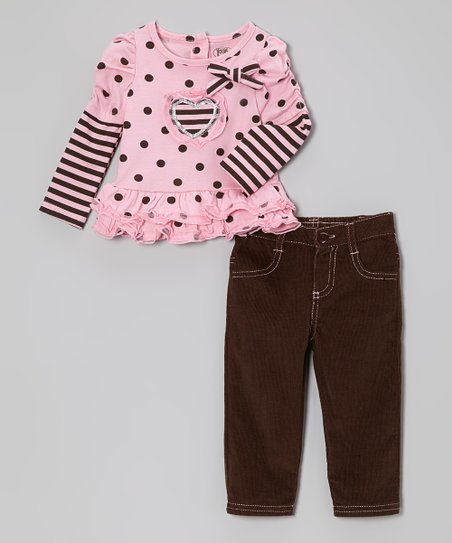 Pink Polka Dot Layered Top & Pants - Infant & Toddler