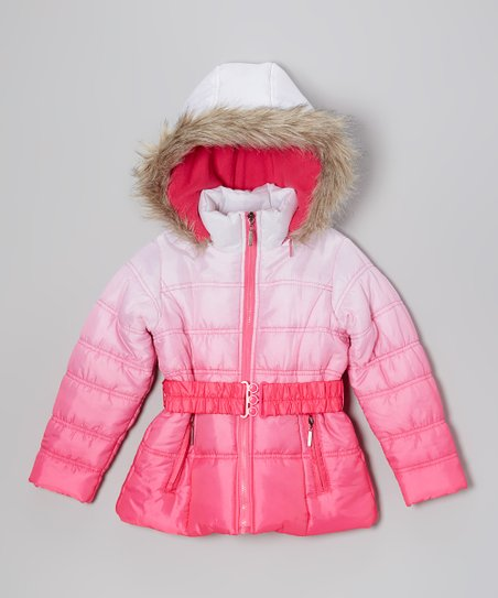 Fuchsia Ombré Puffer Coat - Toddler & Girls