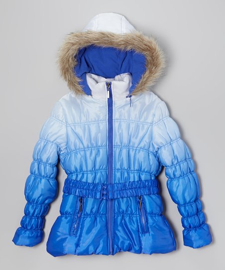 Royal Blue Ombré Puffer Coat - Toddler & Girls