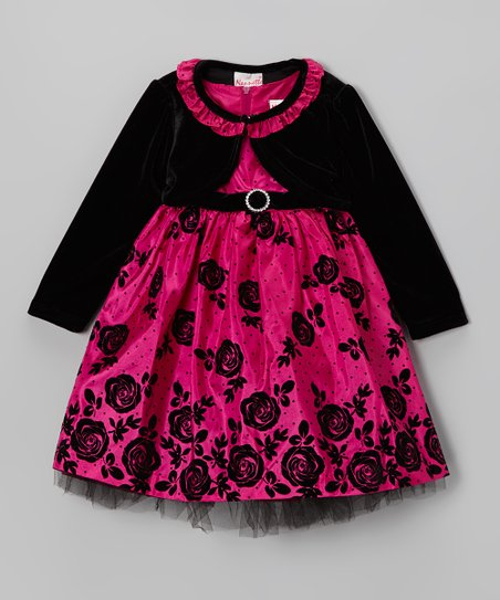 Pink Rose A-Line Dress & Black Bolero - Infant, Toddler & Girls
