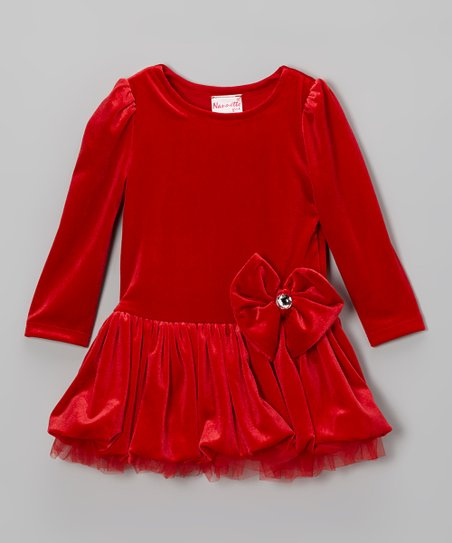 Red Bow Bubble Dress - Infant & Toddler