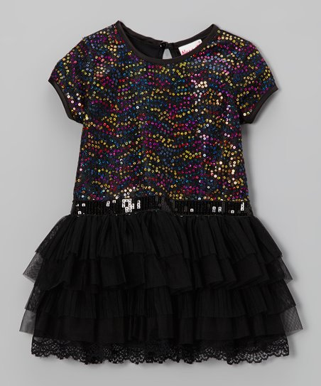 Black Sequin & Lace Tiered Dress - Infant, Toddler & Girls
