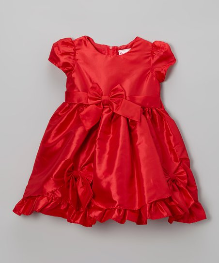 Red Bow Cap-Sleeve Dress - Infant & Toddler