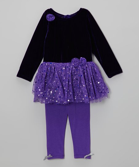 Purple Shimmer Dot Tunic & Leggings - Toddler