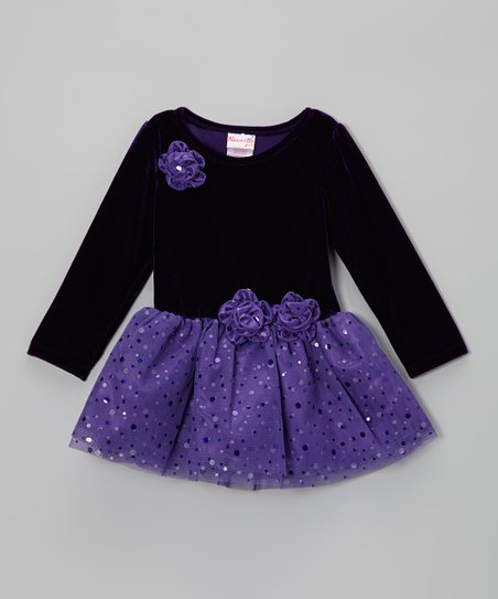Purple Shimmer Dot Dress - Toddler & Girls