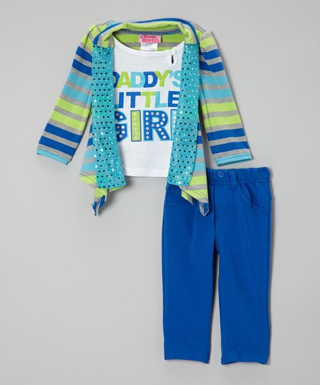 Dark Blue Stripe Sequin Cardigan Set - Infant & Toddler