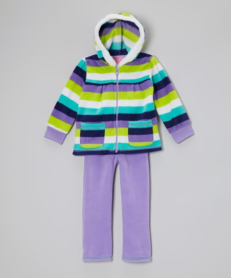 Purple Stripe Hooded Jacket & Pants - Infant