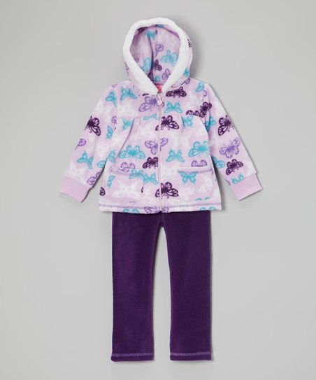 Purple Butterfly Hooded Jacket & Pants - Infant