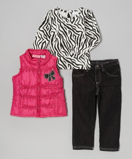 Pink Bow Vest Set - Toddler