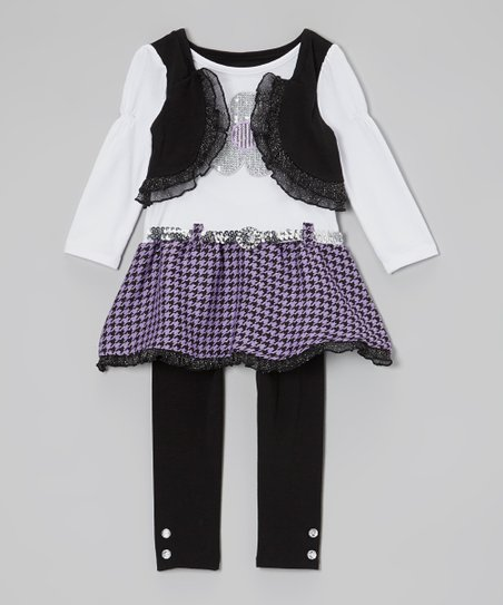 Black & Lavender Layered Top & Leggings - Infant, Toddler & Girls